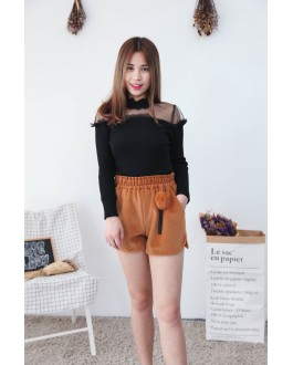 Korea Lace Trim With Mess Long Sleeve Knit Top (Black)