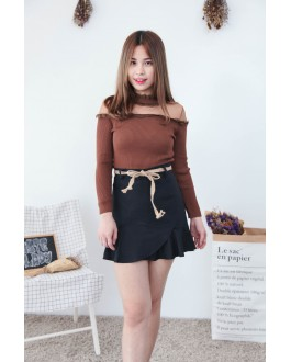 Korea Lace Trim With Mess Long Sleeve Knit Top (Brown)
