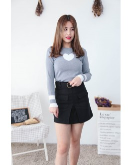 Korea Love Shape Long Sleeve Knit Top (Grey)