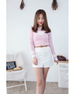 Korea Love Shape Long Sleeve Knit Top (Pink)