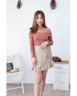 Korea Mess Trim Long Sleeve Top (Brown)