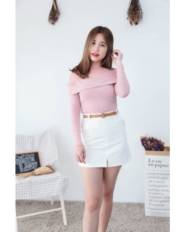 Korea Mess Trim Long Sleeve Top (Nude Pink)