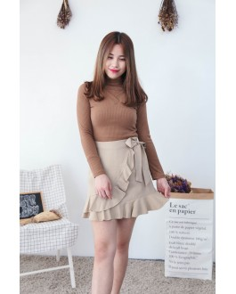 Korea Chocker V Neck Off-Shoulder Knit Top (Khaki)