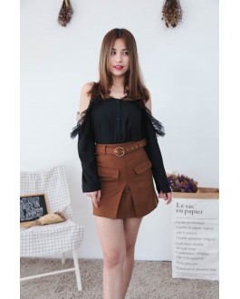 Korea Mess & Button Cold Shoulder Blouse (Black)