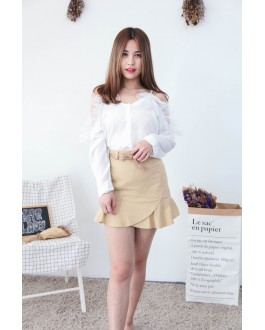 Korea Mess & Button Cold Shoulder Blouse (White)