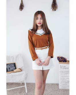Korea Fake Two Piece Long Sleeve Top (Brown)