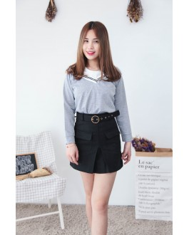 Korea Fake Two Piece Long Sleeve Top (Grey)