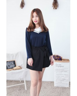 Korea Fake Two Piece Long Sleeve Top (Navy Blue)