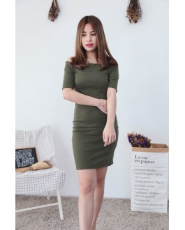 Korea Basic Zipper Off-Shoulder Dress (Army Green)