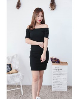 Korea Basic Zipper Off-Shoulder Dress (Black)