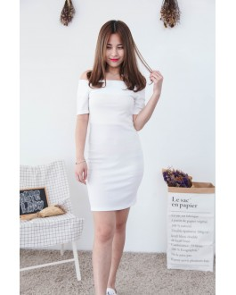 Korea Basic Zipper Off-Shoulder Dress (White)