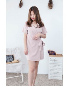 Korea OL Style With Collar Short Sleeve Dress (Beige)
