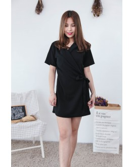 Korea OL Style With Collar Short Sleeve Dress (Black)