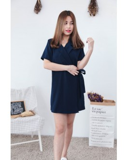 Korea OL Style With Collar Short Sleeve Dress (Navy Blue)