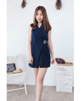Korea OL Style With Collar & Metal Ring Belt Sleeveless Dress (Navy Blue)