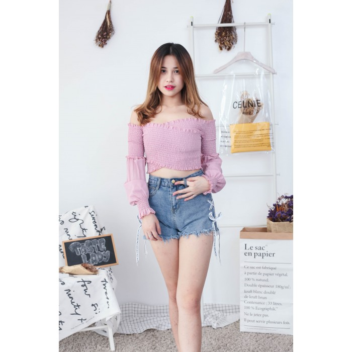 4e2914772d2aed Korea Elastic Cross Style Off Shoulder Long Sleeve Top (Pink)