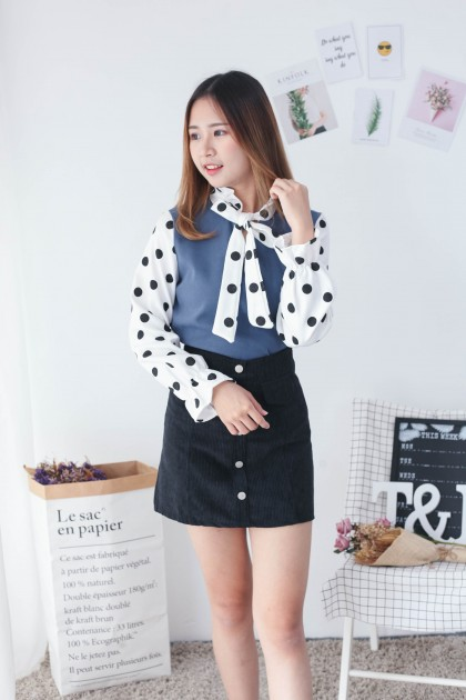 Korea Basic Button High Waist A Line Skirt (Black)