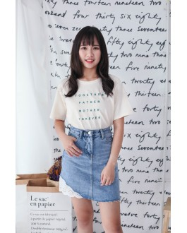Korea Lace Trim High Waist Denim Skirt (Blue)