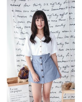 Korea Button Front Double Pocket Rubber Waist Skort (Grey Blue)