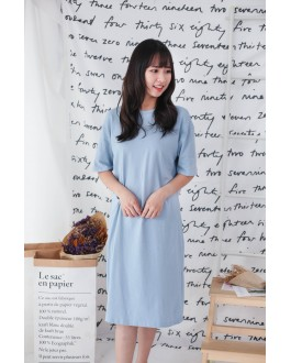 Korea Basic Knot Short Sleeve Dress (Baby Blue)