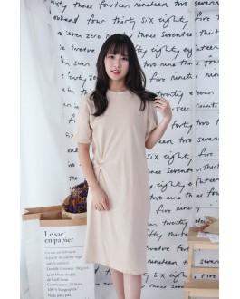 Korea Basic Knot Short Sleeve Dress (Khaki)