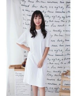 Korea Basic Knot Short Sleeve Dress (White)