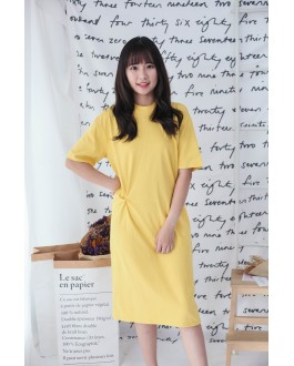 Korea Basic Knot Short Sleeve Dress (Yellow)