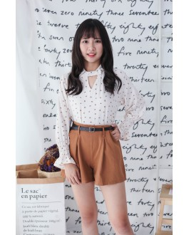Korea Leopard Long Sleeve Blouse (Beige)