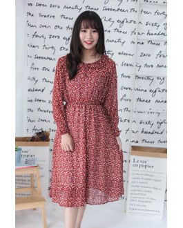 Korea Flora Chiffon Long Sleeve Long Dress (Maroon)