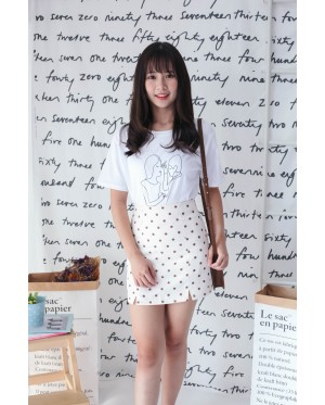 Korea Polka Dot High Waist Skirt (Beige)