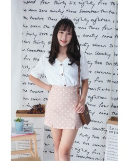 Korea Polka Dot High Waist Skirt (Khaki)