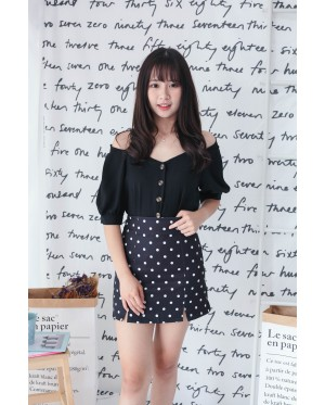 Korea Polka Dot High Waist Skirt (Black)