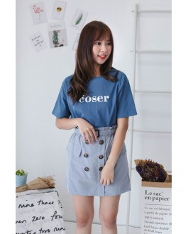 Korea Button Rubber High Waist Skirt With Belt (Grey Blue)