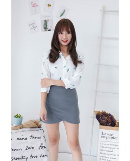 Korea Basic Lady High Waist Skirt (Grey)