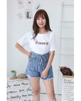 Korea Double Button With Denim Tie High Waist Denim Short Pant (Blue)