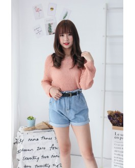 Korea Elastic Waist Double Button High Waist Denim Short Pant (Blue)