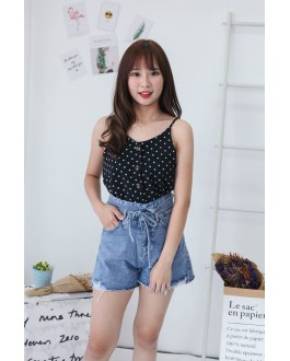 Korea Polka Dot Button V Neck Sleeveless Top (Black)