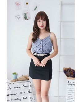 Korea Polka Dot Button V Neck Sleeveless Top (Blue)
