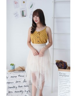 Korea Polka Dot Button V Neck Sleeveless Top (Mustard)