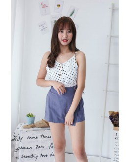 Korea Polka Dot Button V Neck Sleeveless Top (White)