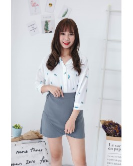 Korea Feather Elbow Length Sleeve Blouse (Green)