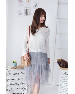 Korea Elastic Waist Layered Mess Skirt  (Grey)