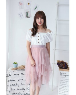 Korea Elastic Waist Layered Mess Skirt  (Pink)