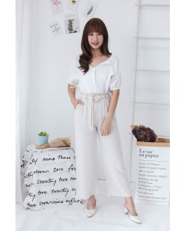 Korea Wide Leg Long Pant With Rope Ring Belt  (Creamy White)