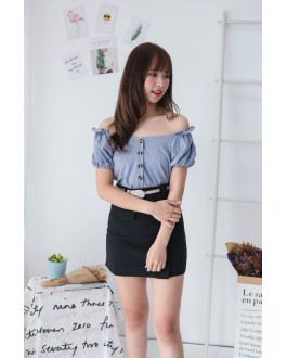 Korea Two Ways Wear Button V Neck Short Sleeve Top (Blue)
