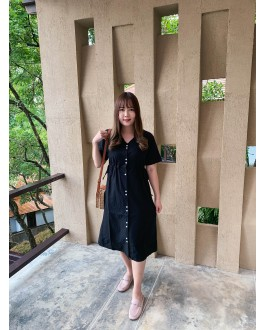 Korea Button Adjustable Waist Tie Dress (Black)