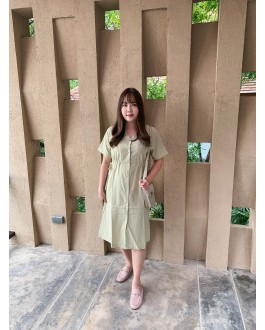 Korea Button Adjustable Waist Tie Dress (Green)