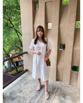 Korea Button Adjustable Waist Tie Dress (White)