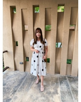 Korea Polka Dot Cross Waist Tie Dress (White)
