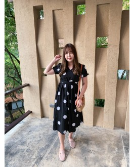 Korea Polka Dot Cross Waist Tie Dress (Black)